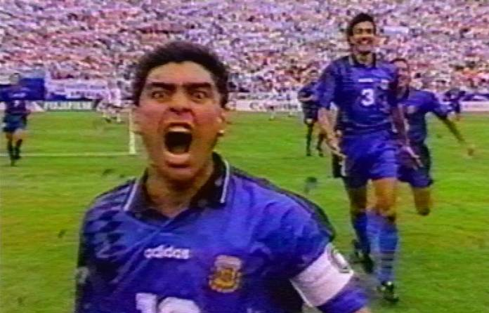 1994: Maradona's manic screaming celebration after scoring at the World Cup in the United States. He was dismissed soon after the match for testing positive for five variants of the banned stimulant ephedrine