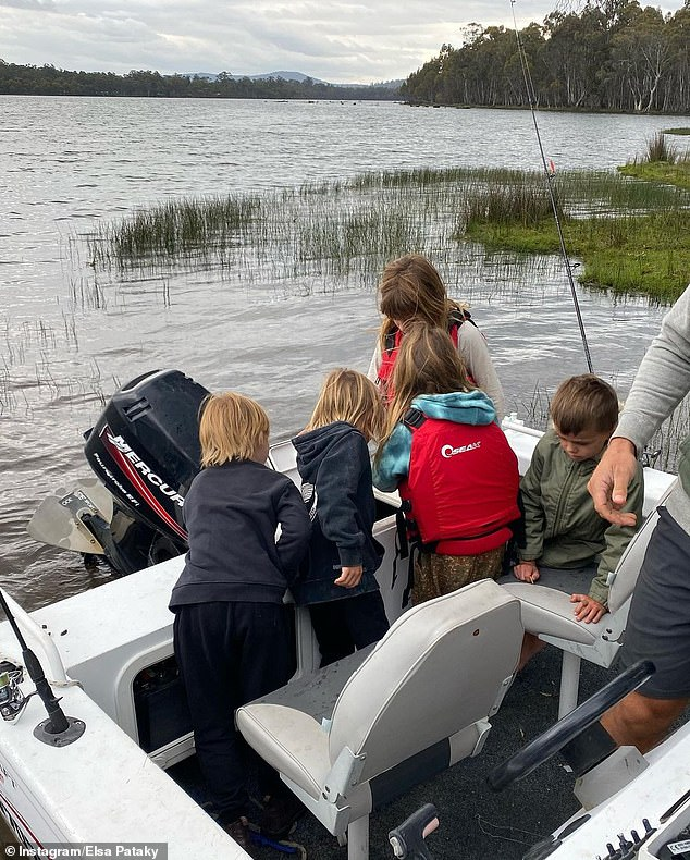 On the lake: The Fast And Furious star's children and their friends also enjoyed a boat trip out the water
