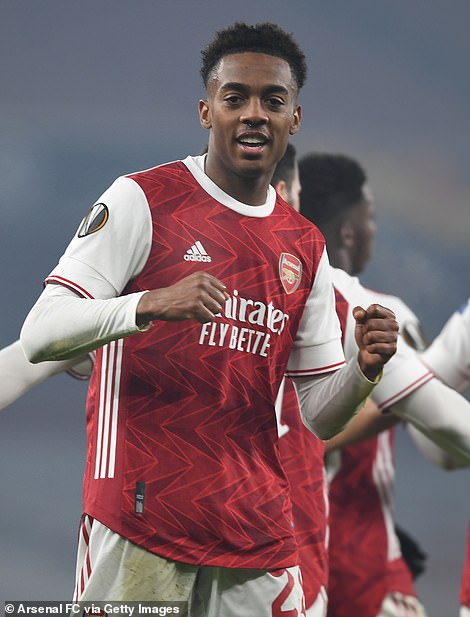 Willock, pictured after scoring for Arsenal against Molde FK on November 5 was on his way to training when it happened