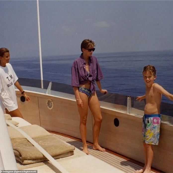 Giancarlo previously shared another image from the trip - showing Diana chatting to Rosario (left) and a young boy (right)