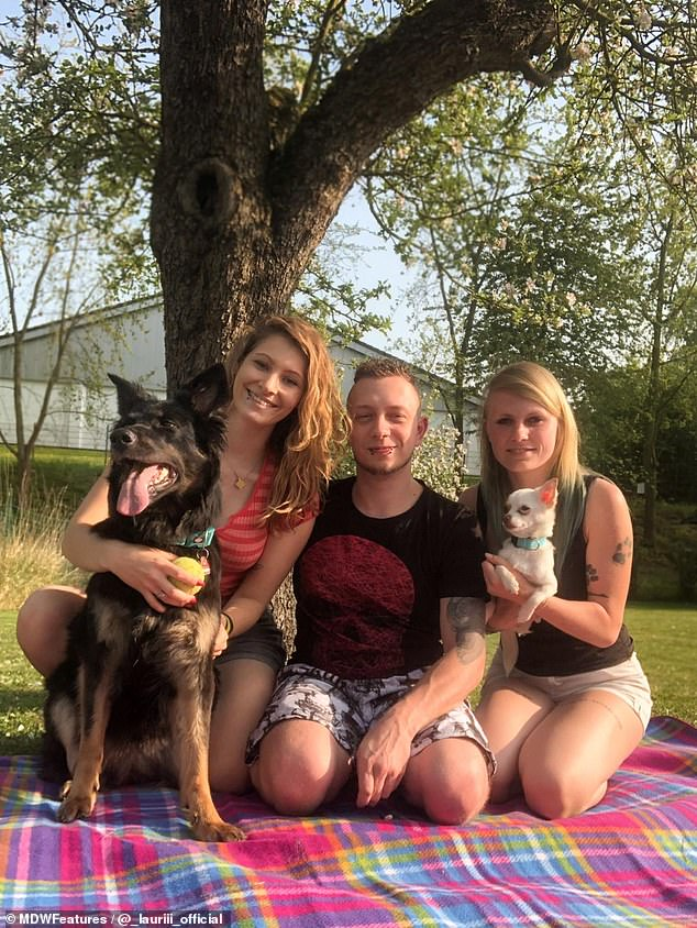 After getting back together in August, the throuple is happier than ever and still plan on getting married and having children (pictured with their dogs at home)