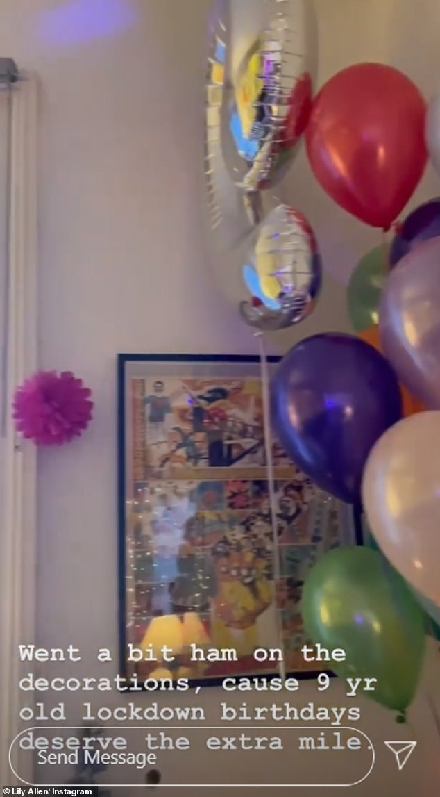 Doing what she can:Lily told her followers: 'Went a bit ham on the decorations, cause 9 yr old lockdown birthdays deserve the extra mile (sic)'
