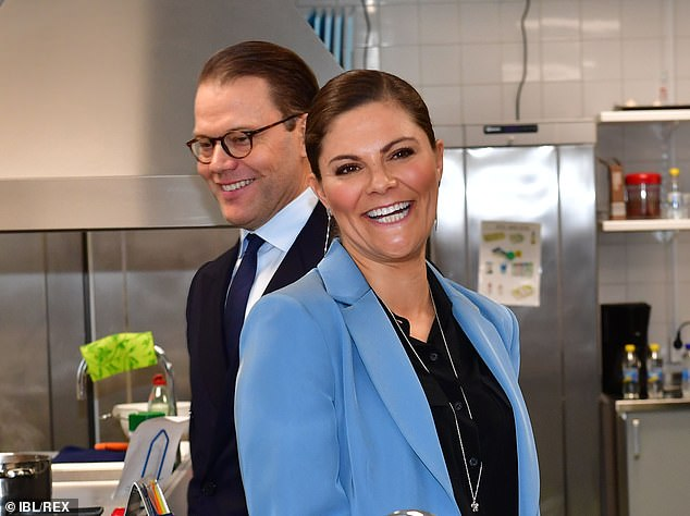 Crown Princess Victoria (right) and husband Prince Daniel (left) will be tested for the virus after they met Prince Philip and Princess Sofia at a funeral last week