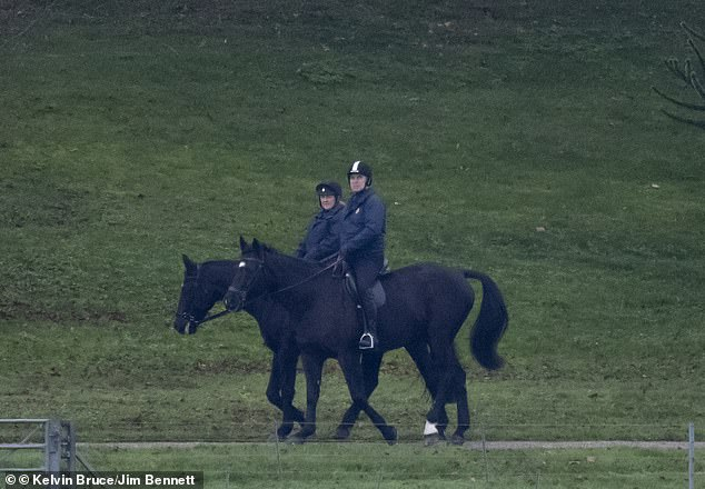 Prince Andrew was spotting making the most of the crisp autumnal weather this morning, enjoying an early ride around the lush grounds of Windsor Castle