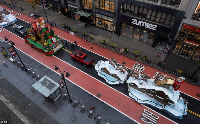 The float carrying Santa Claus lined up for the finale of the televised Macy's Thanksgiving Day parade
