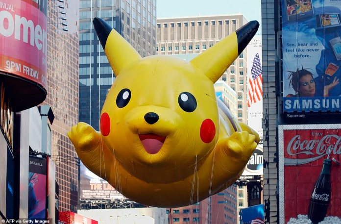 The Pikachu Pokeman balloon has a grand old time soaring down Broadway at the 2001 parade.It costs minimum $190,000 to create a new balloon and $90,000 per year to maintain it after. All the work is done in-house at the Macy's Parade Studio in New Jersey, where they labor over their enormous marionettes out of a former Tootsie Roll factory in Hoboken