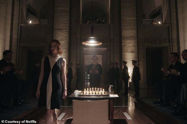 Like many of Beth's other outfits, theI'm Chess-Dresssubtly reflects the pattern on a chess board