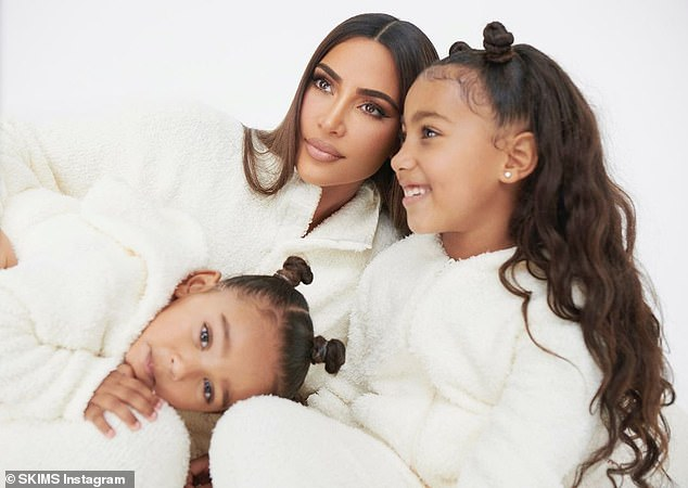The little ones help sales too:On Her SKIMS Instagram page she was seen with her two daughters