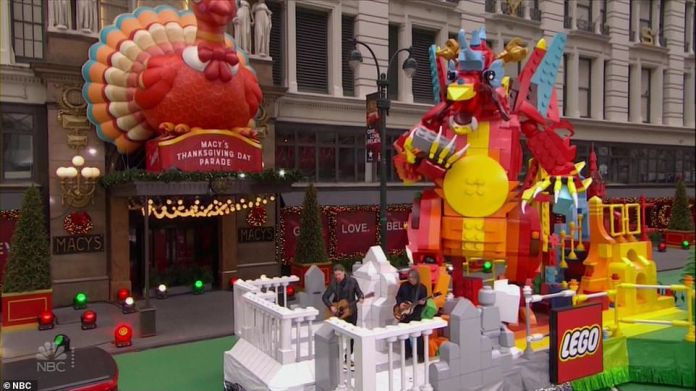 The Lego float as it went past Macy's during the parade on Thursday morning