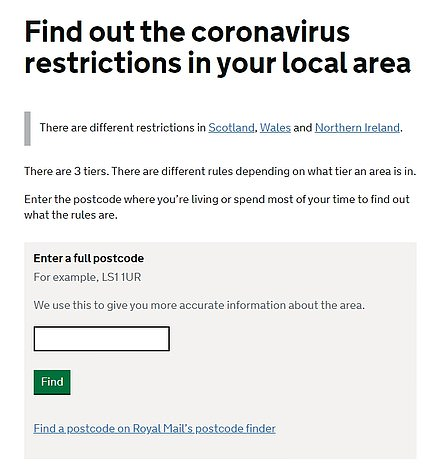 This is the landing page for when you try to check the coronavirus tier in your area of England