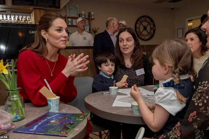 The Duchess of Cambridge pictured in February meeting local mums and carers during a visit to Joe's Ice Cream Parlour on Mumbles Road, near Swansea in south Wales to hear about life in the Mumbles and talk about her landmark survey on the early years