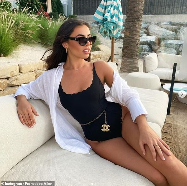Wow!Francesca Allen, 25, proudly flaunted her sizzling physique in a black scalloped swimsuit as she shared a pair of snaps from her trip to Dubai on Thursday