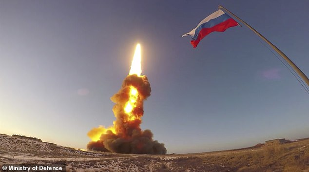 Russia has said it successfully tested a new missile that the US has warned could destroy Western low-earth orbit satellites. Pictured: A photo shared by Russia's Ministry of Defence of the test launch