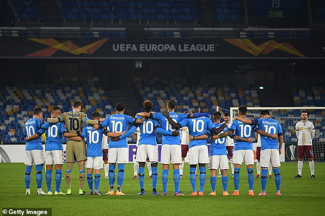Every Napoli player wore the No 10 shirt with Maradona on the back before kick-off