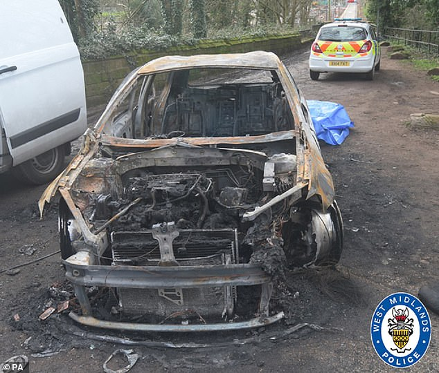 The two killers, who cannot be named for legal reasons, set fire to the stolen VW Golf Type R, pictured, were tracked down as they were both wearing electronic ankle tags, which put them in the area of the murder