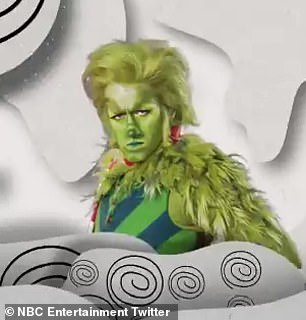 Iconic character: Morrison appears on the screen in a green wig, with green makeup and covered in fur but the comparisons to the Grinch character beloved for generations stop there