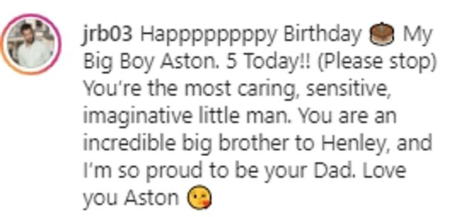 So proud: 'You're the most caring, sensitive, imaginative little man. You are an incredible big brother to Henley, and I'm so proud to be your Dad. Love you, Aston,' Jimmy wrote
