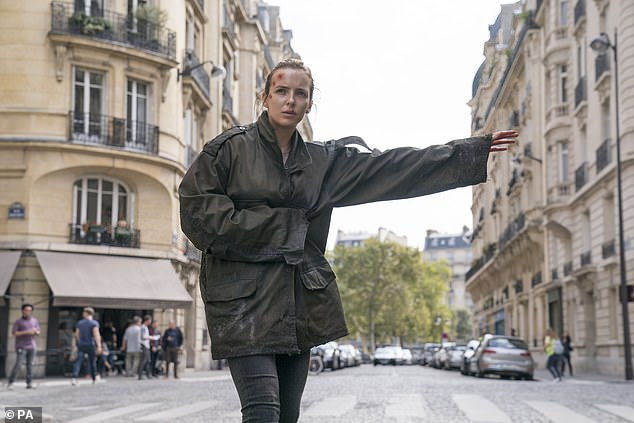 Different part: The Killing Eve star (pictured as Villanelle) will star as care home worker Sarah in a feature-length drama, depicting the struggles staff face when the pandemic hits