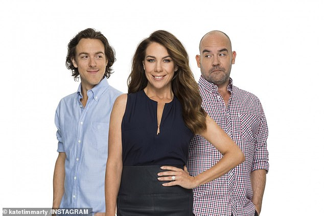 New gig: Joel replaced Marty Sheargold (right) on Nova's drive show alongside Kate Ritchie (centre) and Tim Blackwell (left), in September