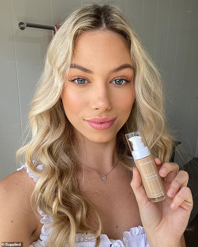 To use the foundation, either apply it with fingertips, brush or sponge, building coverage in light layers (pictured in use)