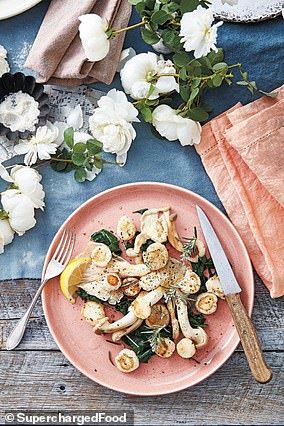 Lee shared her recipe for scallops (pictured), which is filled with protein and can keep you full