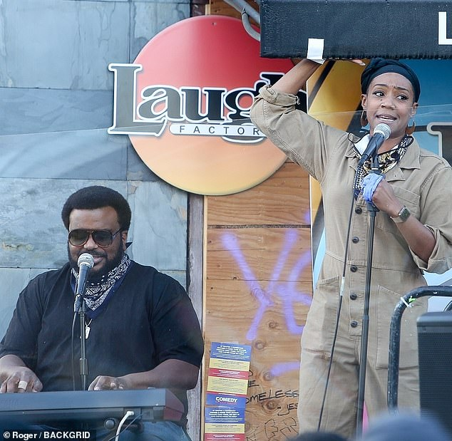 Makeshift: Girls Trip star Haddish took to a makeshift stage out the front of the Hollywood comedy club, alongside fellow comedian Craig Robinson