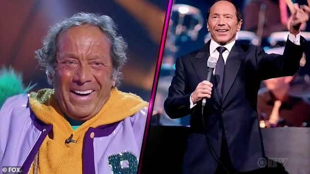Correct:Broccoli starts the unmasking process, as the veggie is revealed to be Paul Anka, which Thicke had correctly guessed