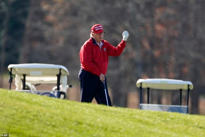 Earlier on Thursday, the president played a round of golf at his Sterling, Virginia, club during which he grew angry while struggling at one particular hole