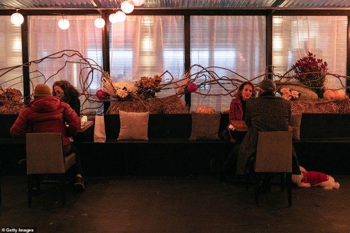 New York, New York: Couples dine out for Thanksgiving dinner on Thursday in New York City amid the coronavirus pandemic