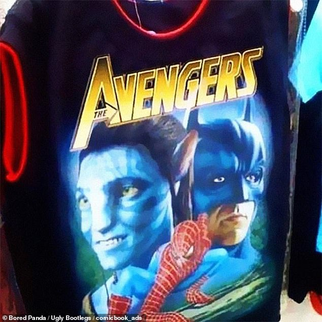 The most ambitious crossover event in history! It seems the creator of this T-shirt was a fan of Avatar, Spiderman and Batman and decided to form his own Avengers