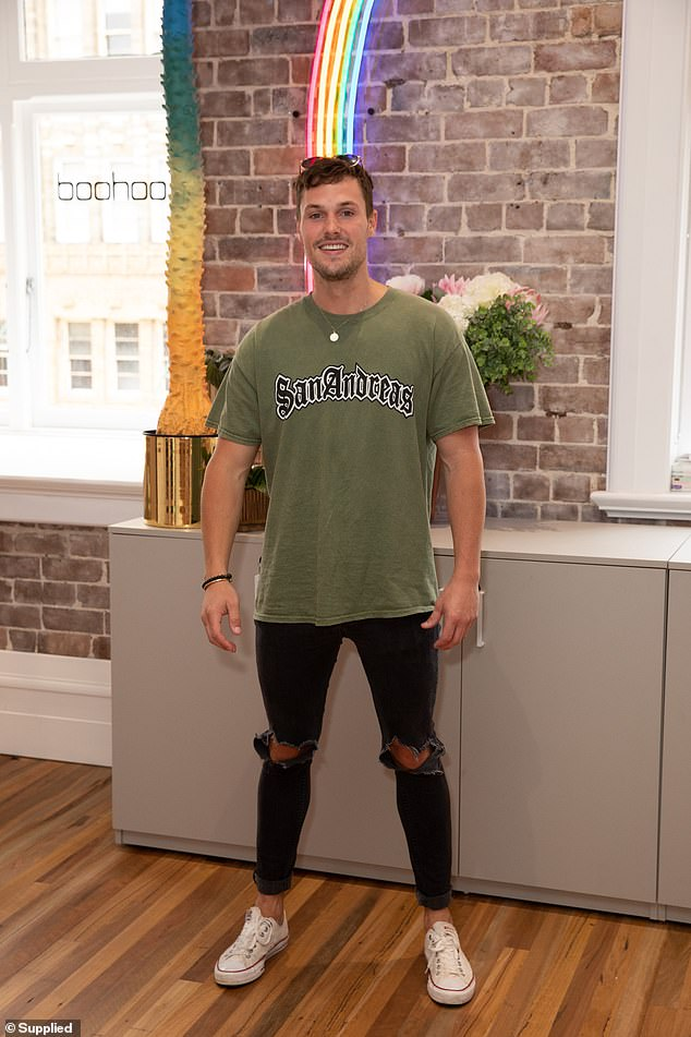 Going green: Former Love Island star Josh Packham also put in an appearance, stepping out in a khaki green logo T-shirt
