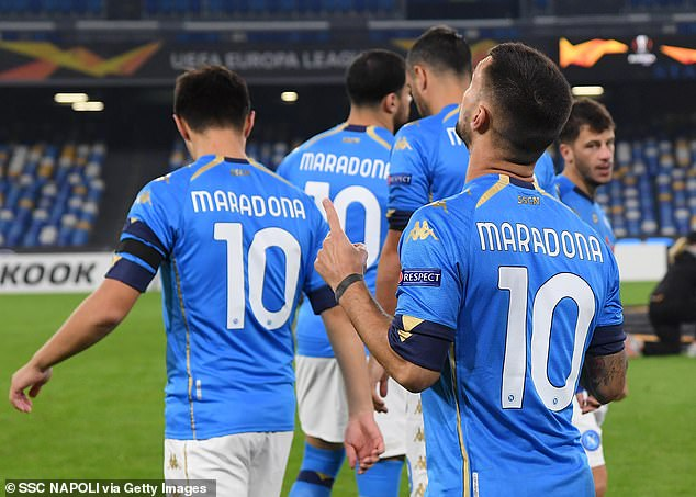 The whole Napoli squad came out before the match wearing 'Maradona 10' shirts in tribute