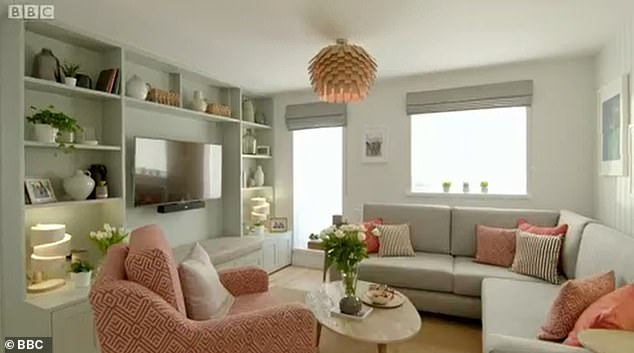 Living room after: The space is transformed with a corner sofa that has plenty of room