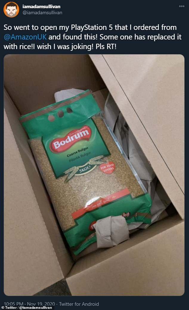 These mysterious substitutions are not the only problems that Amazon has faced this month surrounding deliveries of the PlayStation 5. The firm was forced to fire one of its Oxfordshire-based couriers who was caught on home CCTV footage faking the delivery of a console and keeping such for himself. Pictured, one customer received Bulgur wheat instead of a PS5