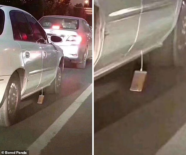 Someone on a night out was about to make a very bad realisation. Their phone was caught in the door of their car