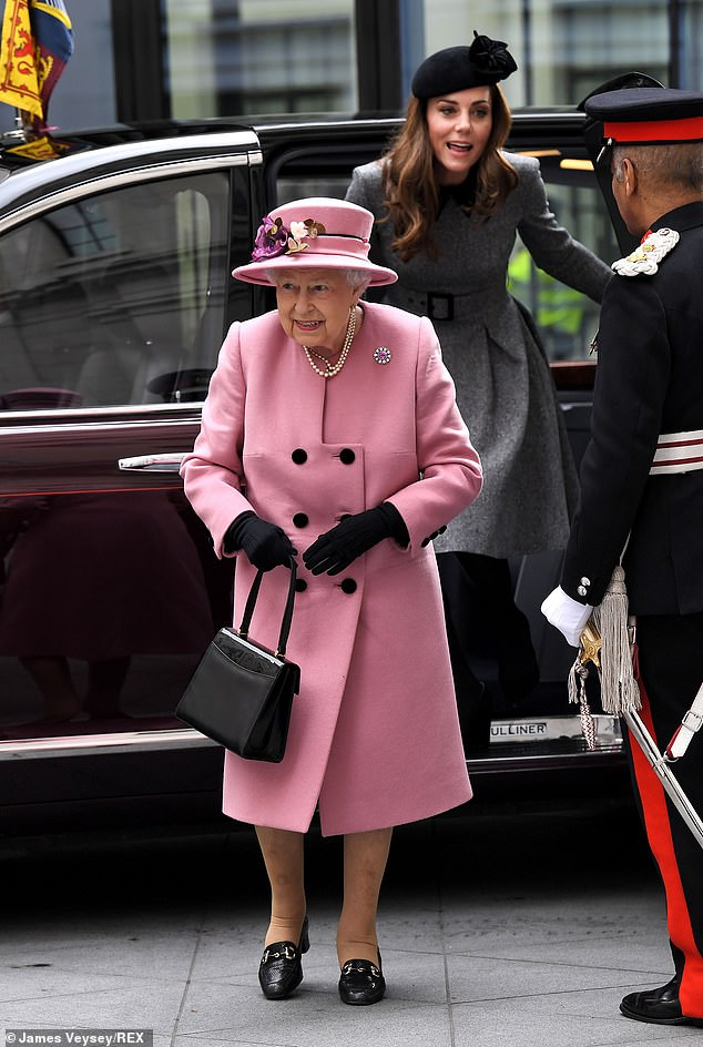 The Queen and Duchess of Cambridge visit King's College to Open Bush House in London on 19 March 2019