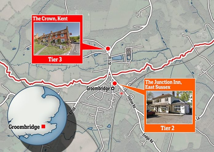 Map showing the location of the two pubs in Groombridge, with the Junction Inn in East Sussex and The Crown in Kent, separated by the county border, marked in red