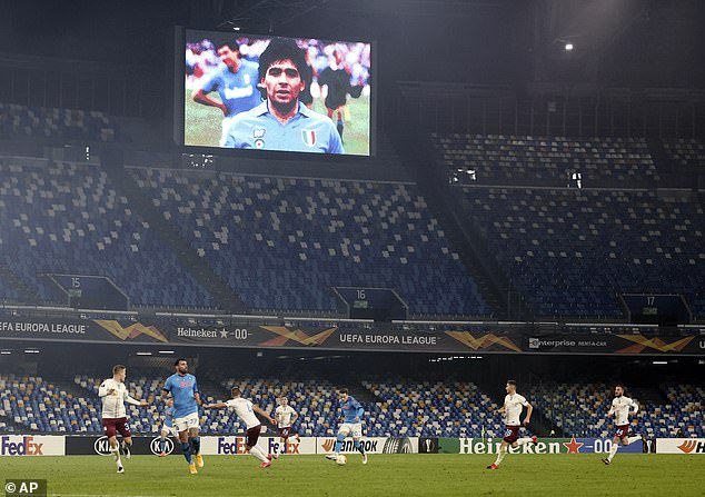 The Serie A side won 2-0 in the Europa League clash, with Maradona name and face ever present through the match-day