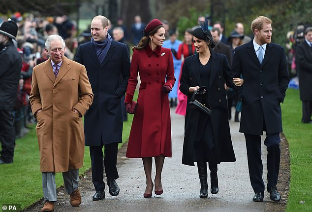 Members of the royal family usually take part in a public walkabout on Christmas, where they greet members of the public. Pictured: The Prince of Wales, 71, Prince William, 38, Kate Middleton, 38, Meghan Markle, 39 and Prince Harry, 36, on Christmas day 2018