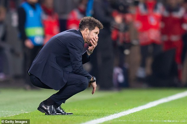 Doctors have yet to put a time scale on his absence in a blow to boss Diego Simeone (above)