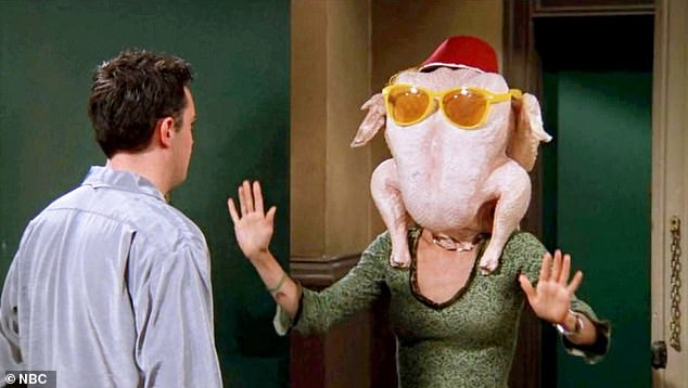 Flashback! Then, she recreated the legendary dance in her expansive kitchen with a raw turkey wearing sunglasses on her head