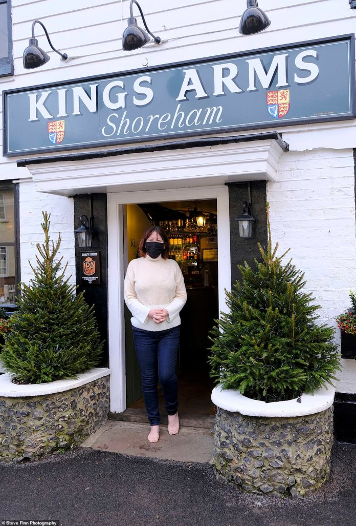 The Kings Arms Pub with landlady Pamela Barclay, 66, of Shoreham, Kent, dismayed that they are stuck in Tier 2 levels