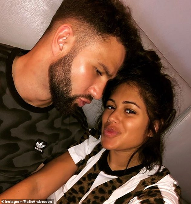 Ex: Malin's ex Tom was jailed for 10 months in September after being convicted of assaulting following a campaign of physical and mental abuse [pictured together in February 2019]
