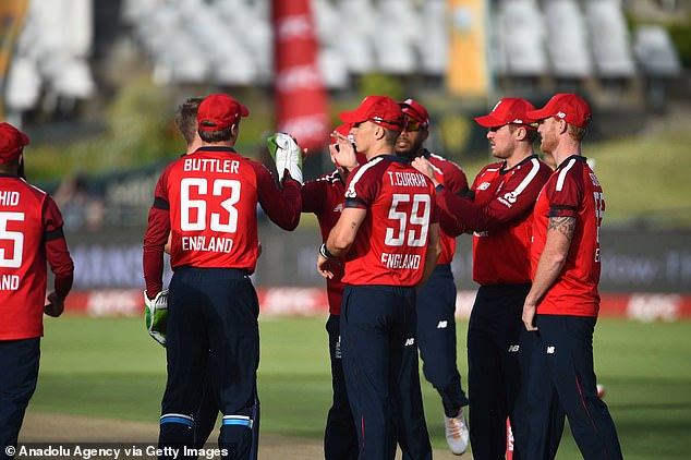 Jos Buttler and Co. celebrate after amassing a strong score in Cape Town