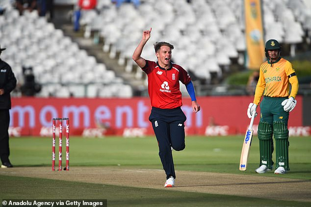Sam Curran of England celebrates his score during the first T20 clash
