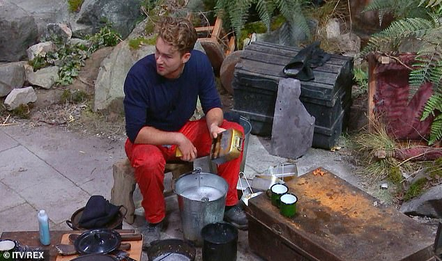 New role:Yet on Tuesday's episode, camp leader Jordan North asked AJ to do the washing up as Shane was doing a trial and Ruthie was feeling homesick