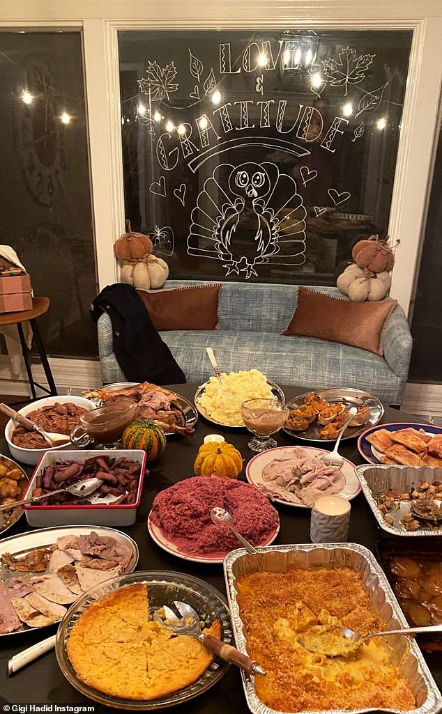Yum: Hadid later included several images of their delicious Thanksgiving meal, which included turkey, stuffing, and pumpkin pie.