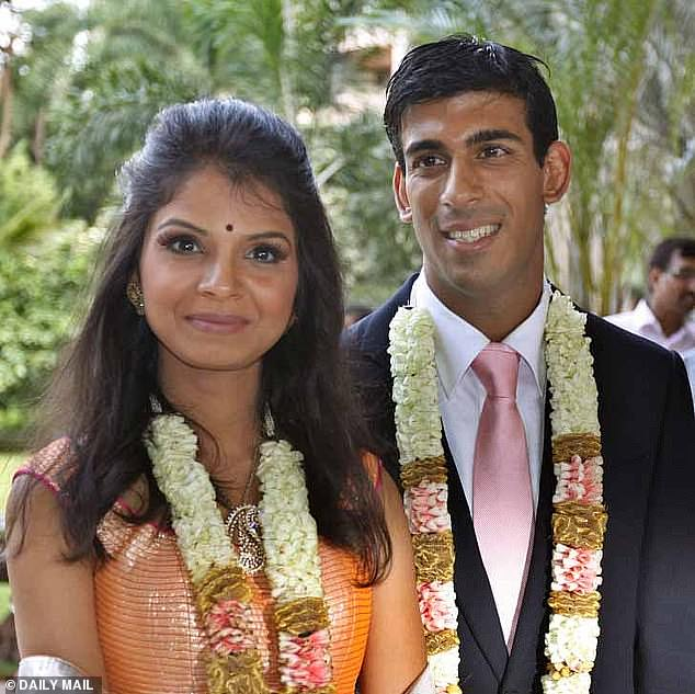 Chancellor Rishi Sunak's wife Akshata Murthy (pictured together at their wedding) has shares in her family's tech business worth £430million, making her richer than the Queen