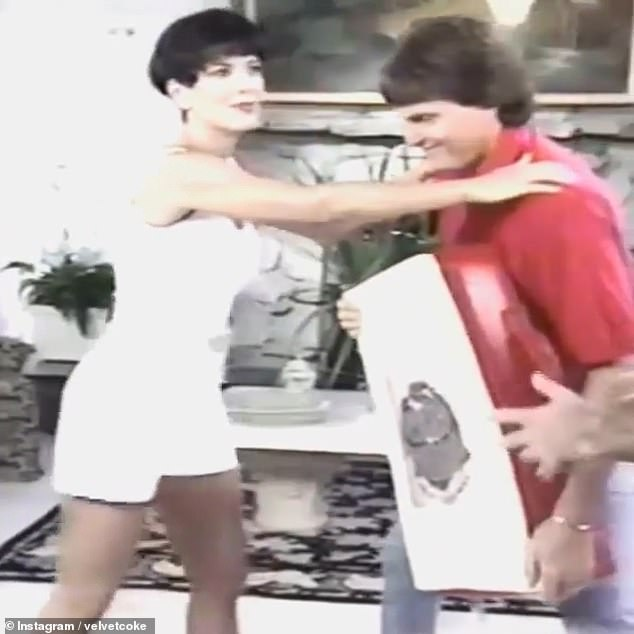 Powerful: Kris Jenner proved she knows how to defend herself as she perfected her martial arts kicks on then-husband Caitlyn, prior to her transition, in a 1994 fitness video