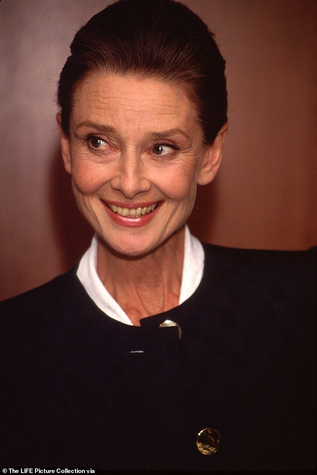 Ray said:'Audrey was 63 and exquisitely beautiful – the eye sparkle, the cheekbones, and that extraordinary smile. This aura you can't explain. I was conscious that I was in the company of a genuine superstar' he said of the early 1990s interview. Pictured in 1990